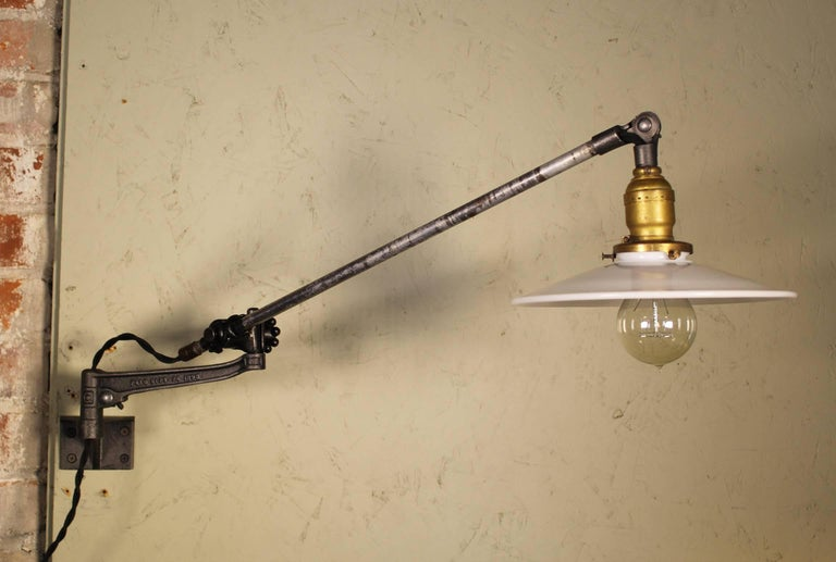 Pair of Vintage Industrial Milk Glass O.C. White Wall Task Lamps, Lights In Distressed Condition For Sale In Oakville, CT