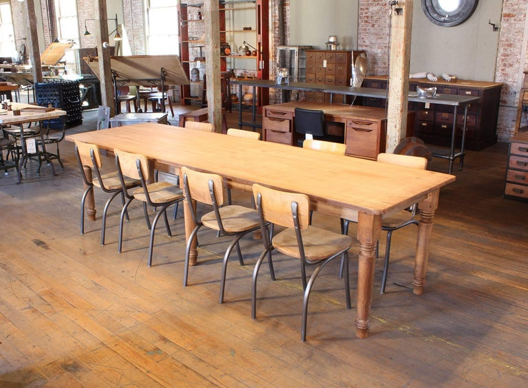 Authentic American made library / refectory farm dining table made from pine and tulip wood. Harvest table will comfortably seat ten people and features hand-turned legs, measures 119