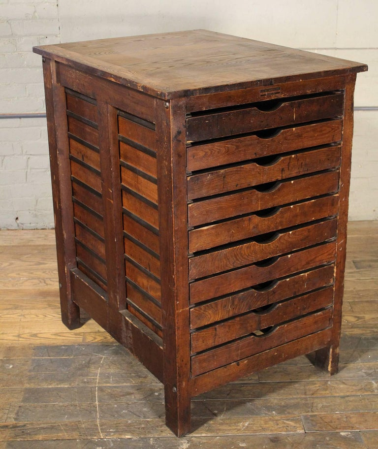 Industrial Wooden Printing Storage Cabinet by Hamilton For Sale