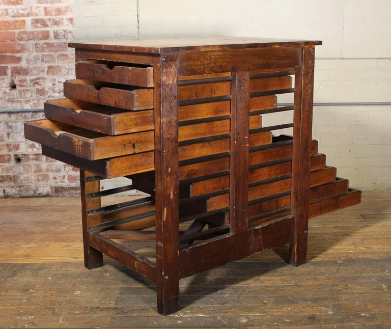 Wooden Printing Storage Cabinet by Hamilton In Distressed Condition For Sale In Oakville, CT