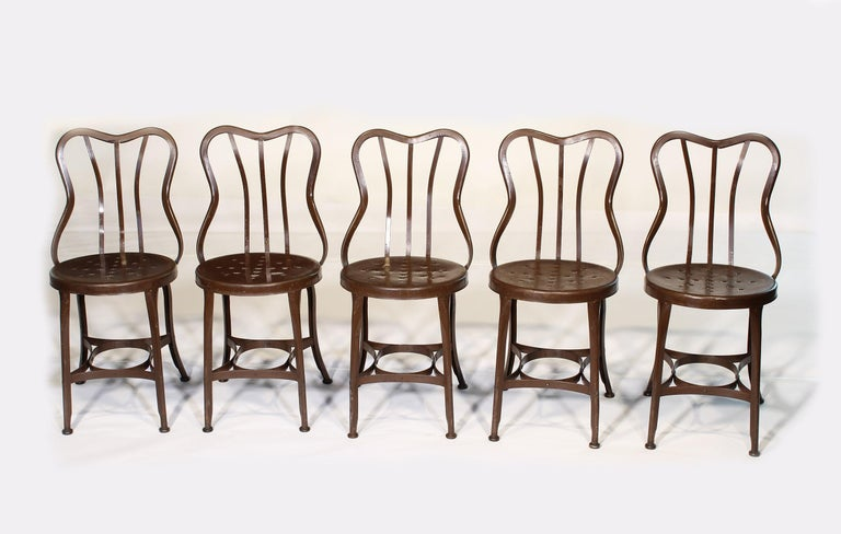 Industrial Set of 5 Antique Metal Cafe Chairs by Toledo For Sale