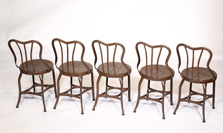 American Set of 5 Antique Metal Cafe Chairs by Toledo For Sale