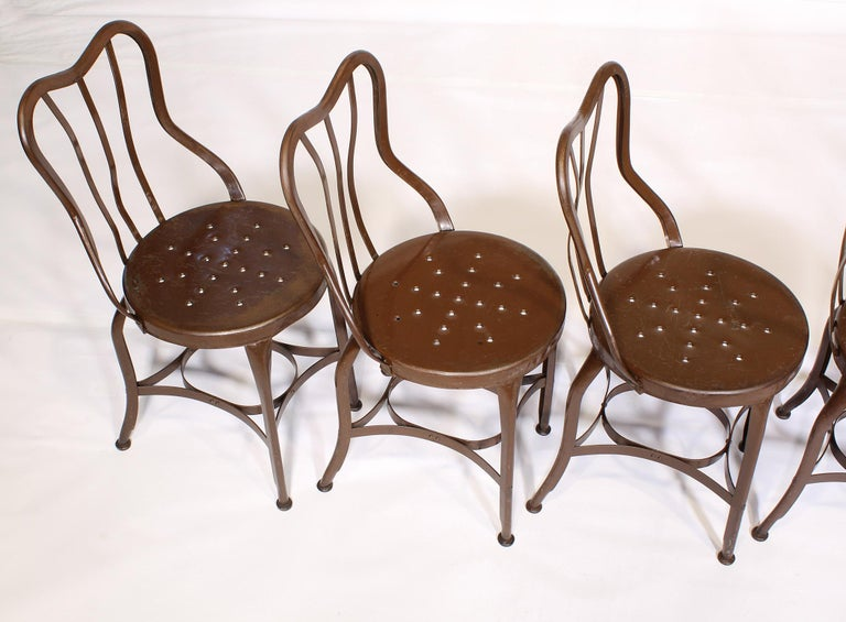 20th Century Set of 5 Antique Metal Cafe Chairs by Toledo For Sale