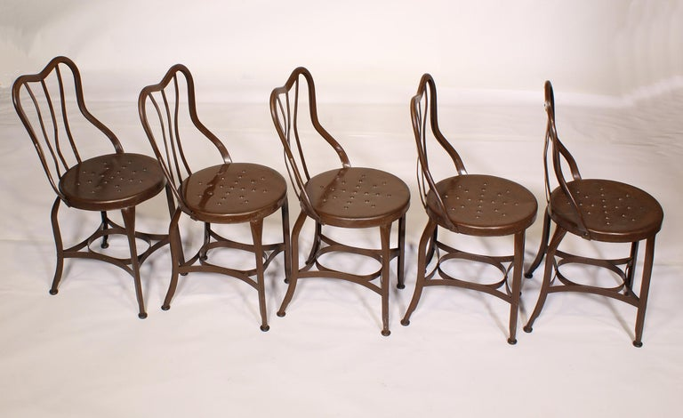 Steel Set of 5 Antique Metal Cafe Chairs by Toledo For Sale