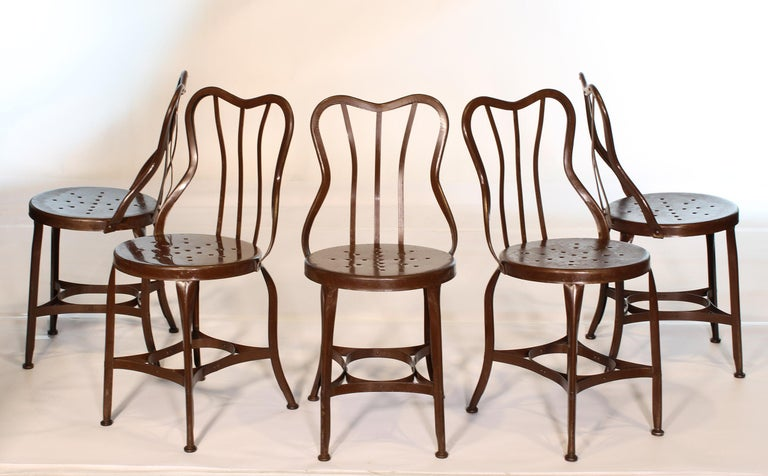Set of 5 Antique Metal Cafe Chairs by Toledo For Sale 1
