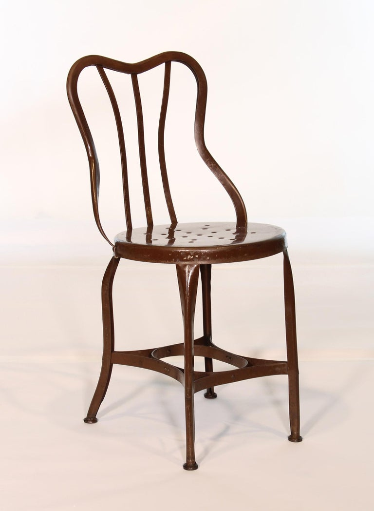 Set of 5 Antique Metal Cafe Chairs by Toledo For Sale 2