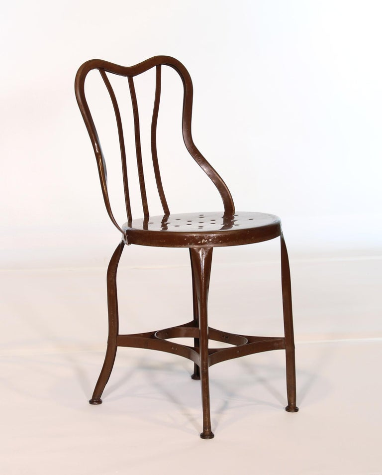 Set of 5 Antique Metal Cafe Chairs by Toledo For Sale 3