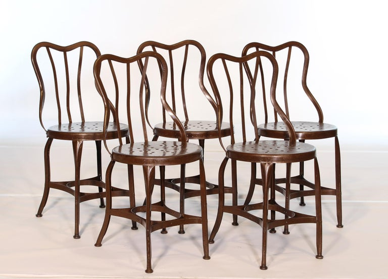 Set of 5 Antique Metal Cafe Chairs by Toledo For Sale 4