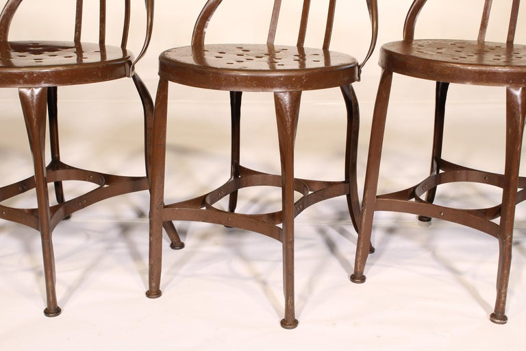 Set of 5 Antique Metal Cafe Chairs by Toledo For Sale 5
