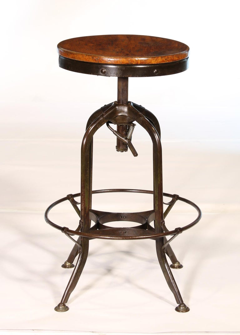 American Authentic Vintage Industrial Adjustable Backless Toledo Stool For Sale