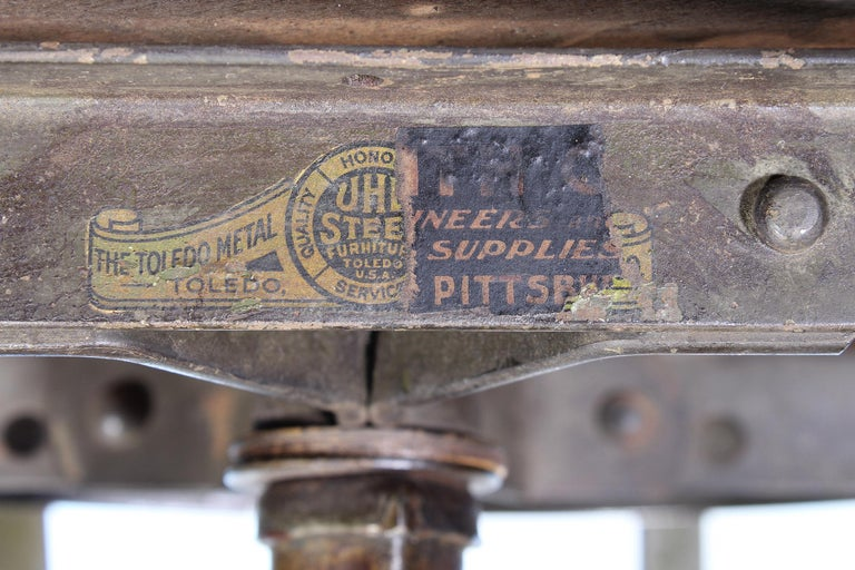 Authentic Vintage Industrial Adjustable Backless Toledo Stool For Sale 5