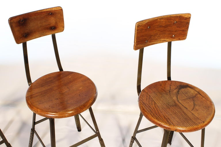 Set of 3 Authentic Vintage Industrial Factory Stools In Good Condition For Sale In Oakville, CT