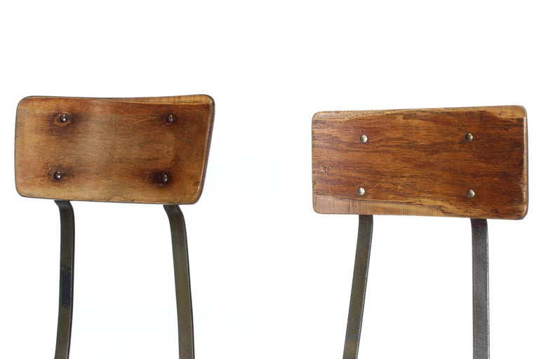 Set of 3 Authentic Vintage Industrial Factory Stools For Sale 2