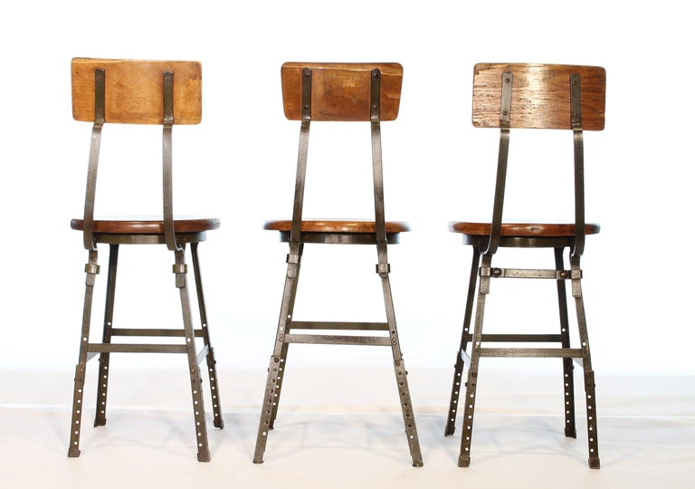 American Set of 3 Authentic Vintage Industrial Factory Stools For Sale