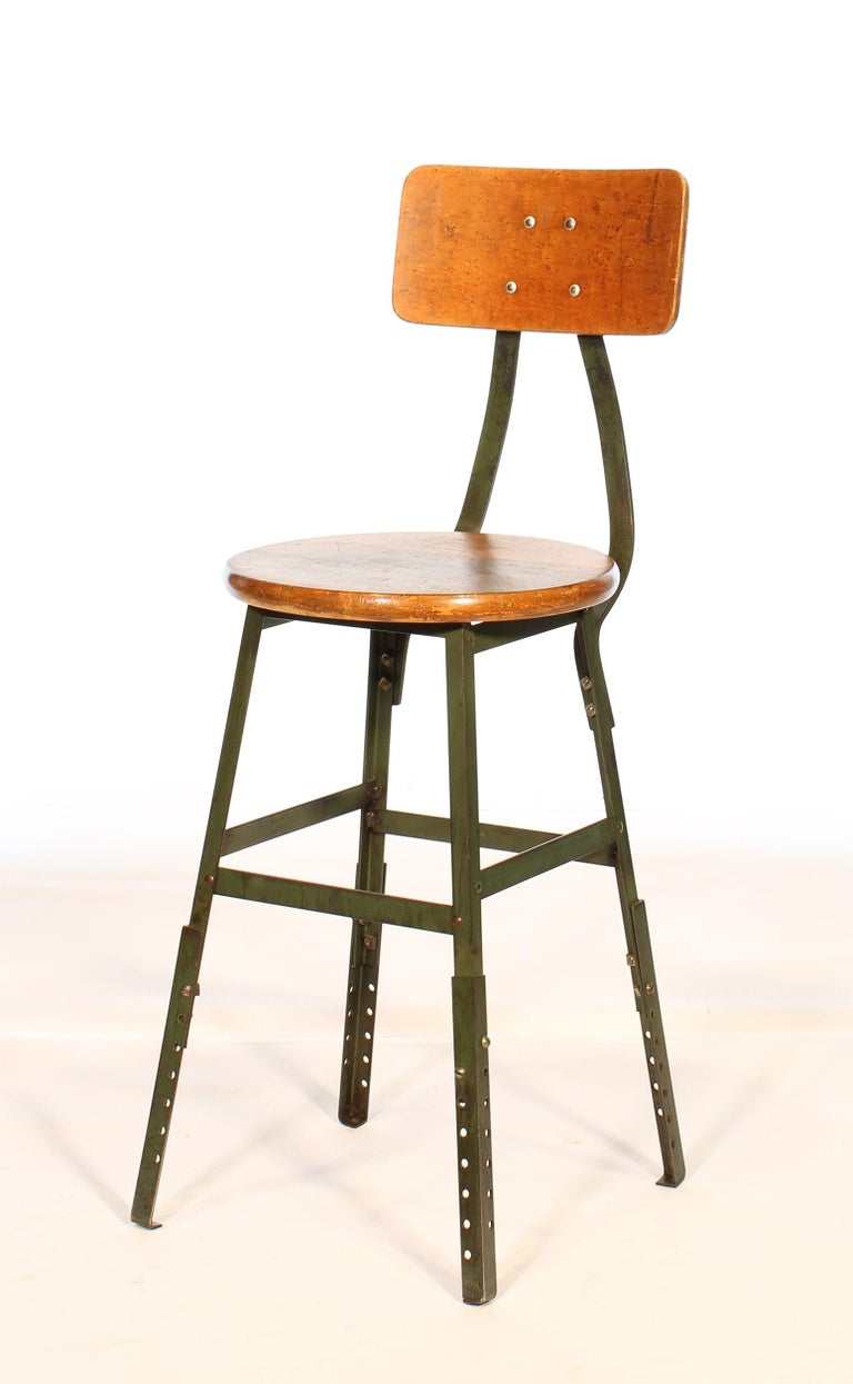 American Authentic Vintage Industrial Factory Stool For Sale