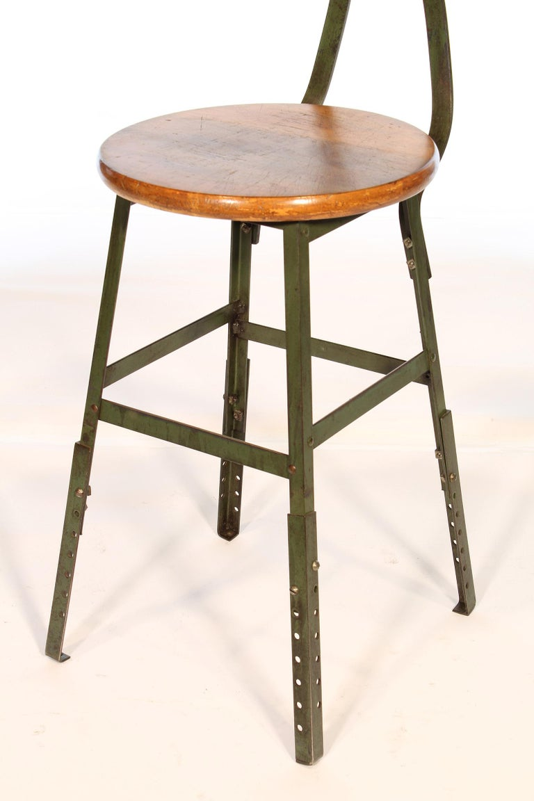 Authentic Vintage Industrial Factory Stool In Good Condition For Sale In Oakville, CT