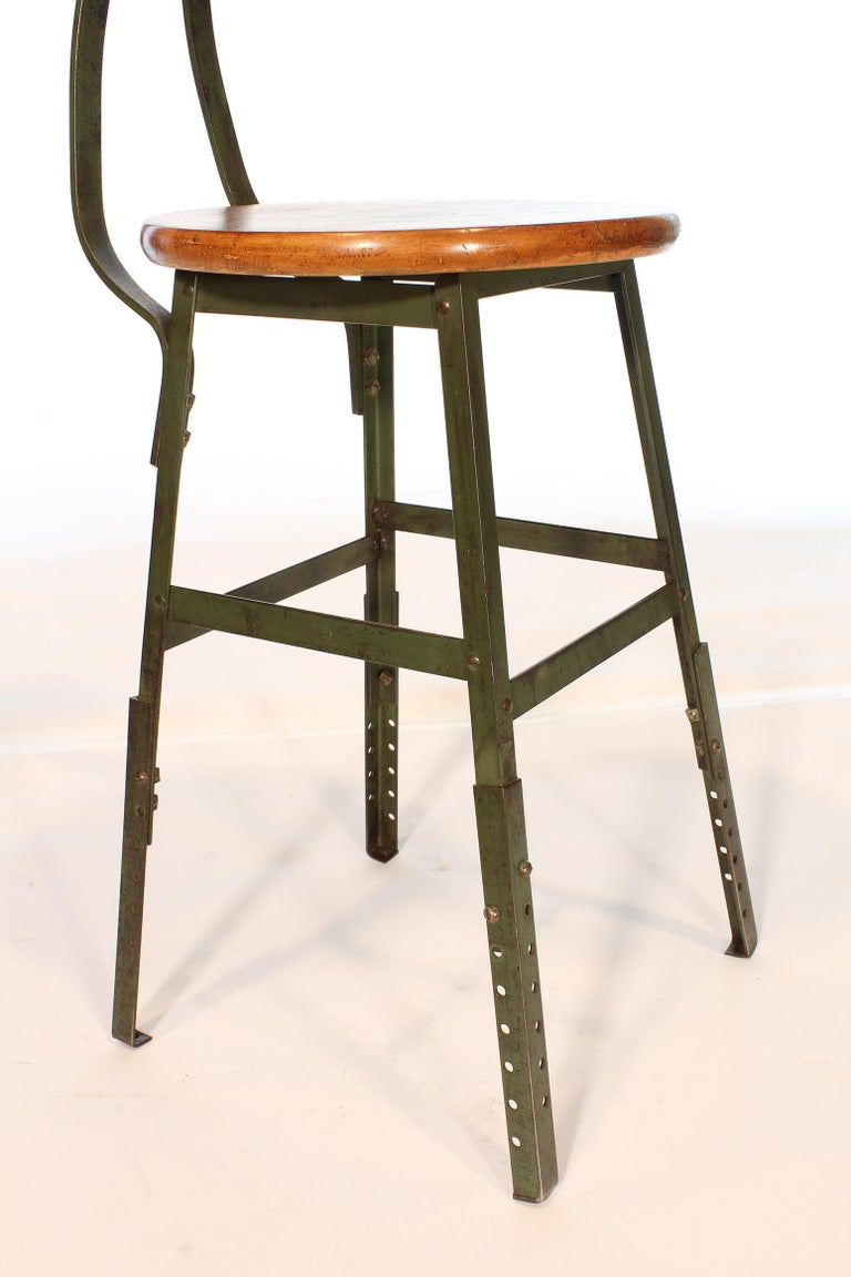 Authentic Vintage Industrial Factory Stool For Sale 2