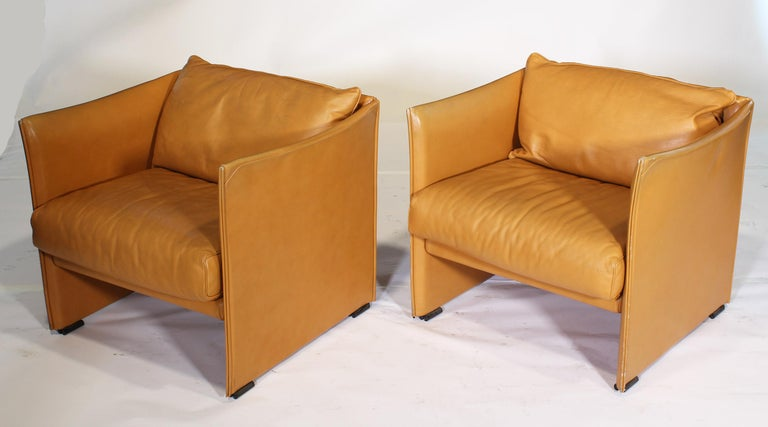 Mario Bellini Tilbury Leather Armchairs For Sale 1