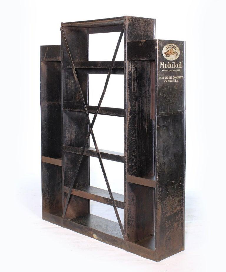 Industrial Vintage Gargoyle Mobil Oil Metal Display Rack For Sale