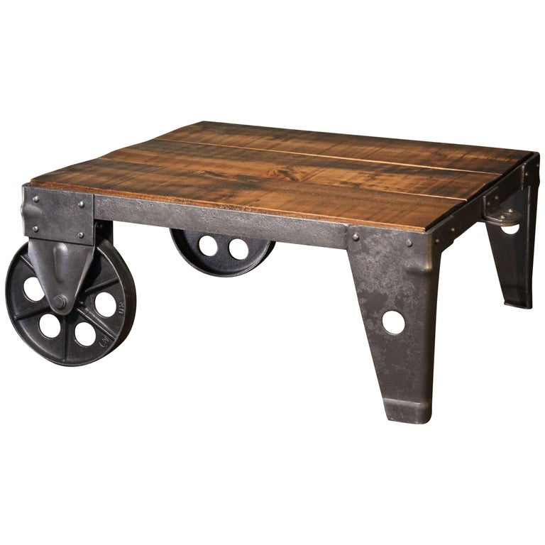 Authentic Vintage Industrial Cart Coffee Table Factory Shop Wood