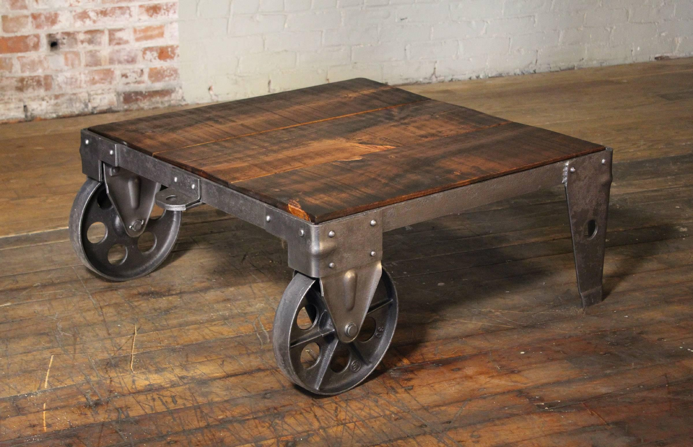 Gentil Authentic Vintage Industrial Cart Coffee Table Factory Shop Wood Steel And  Iron