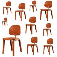 Set of 10 Mid Century Modern Piretti Xylon Bent Plywood Dining Chairs