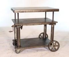 Bar Cart, Rolling Table Vintage Industrial Adjustable Steel Metal