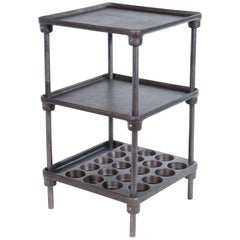 Vintage Industrial Three-Tier Cast Iron Display End or Side Table