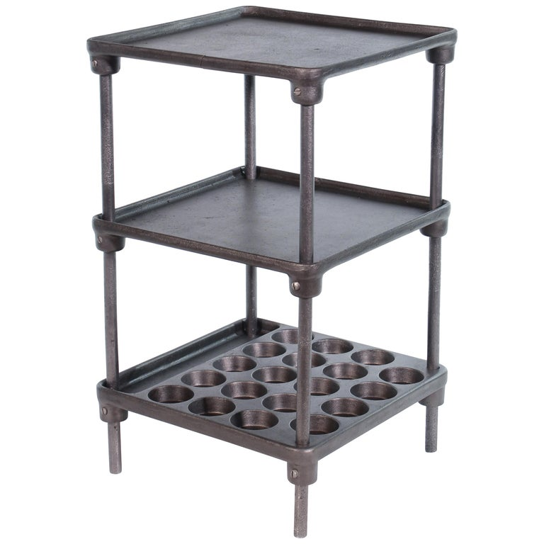 Vintage Industrial Three-Tier Cast Iron Display End or Side Table For Sale
