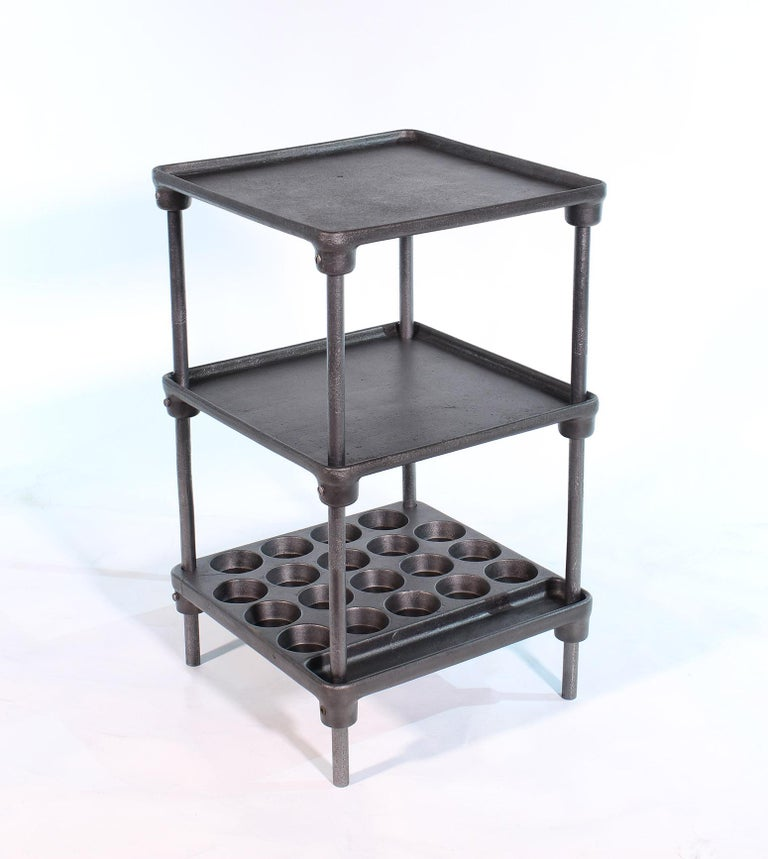Vintage Industrial Three-Tier Cast Iron Display End or Side Table In Fair Condition For Sale In Oakville, CT