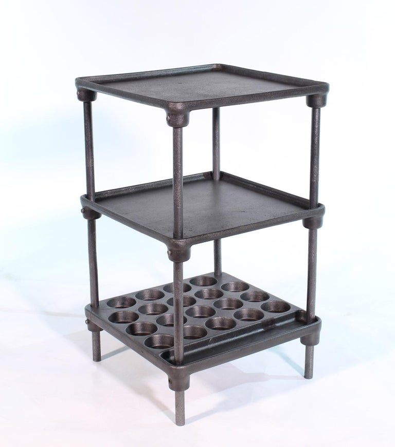 20th Century Vintage Industrial Three-Tier Cast Iron Display End or Side Table For Sale