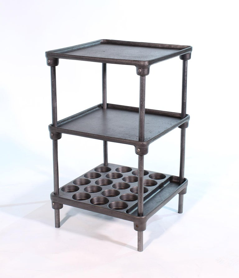 Steel Vintage Industrial Three-Tier Cast Iron Display End or Side Table For Sale