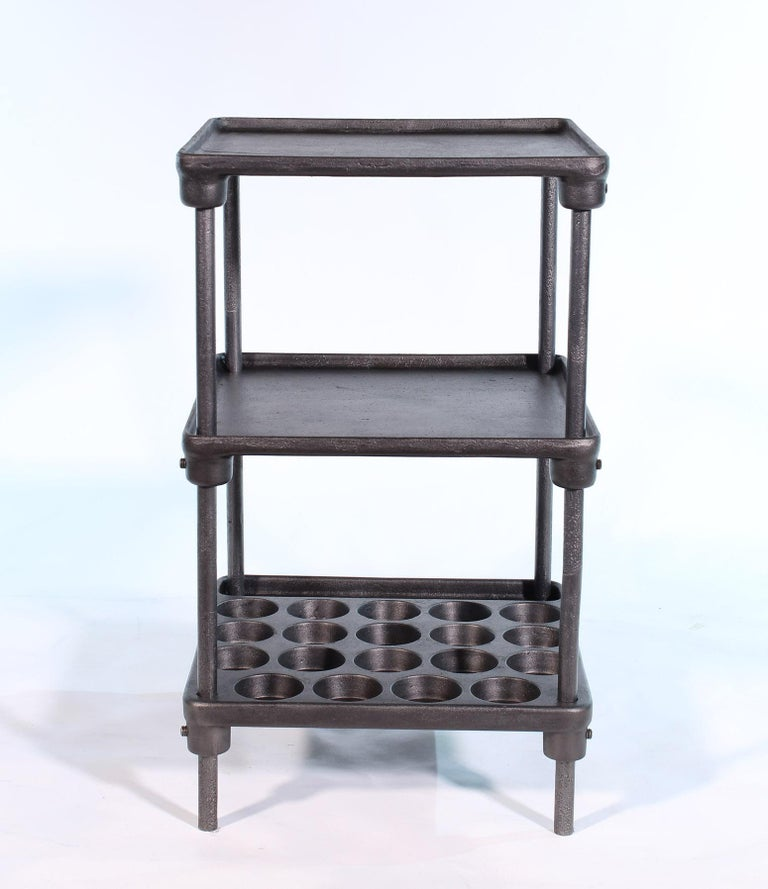 Vintage Industrial Three-Tier Cast Iron Display End or Side Table For Sale 1