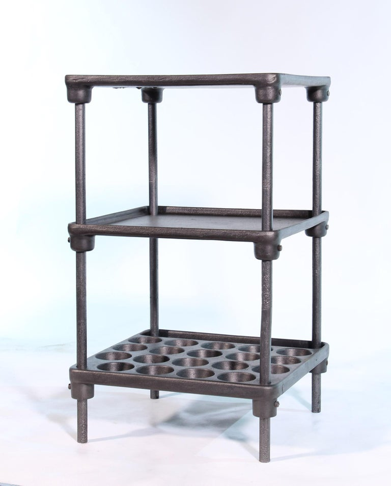 Vintage Industrial Three-Tier Cast Iron Display End or Side Table For Sale 2