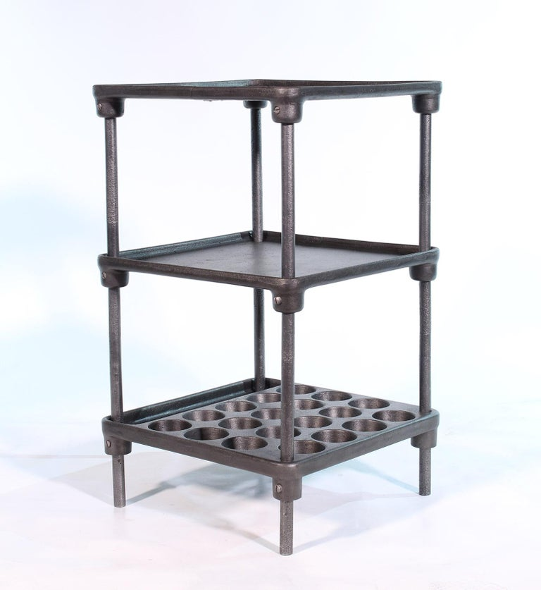 Vintage Industrial Three-Tier Cast Iron Display End or Side Table For Sale 3