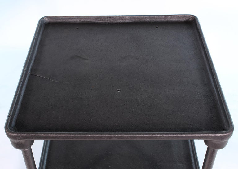 Vintage Industrial Three-Tier Cast Iron Display End or Side Table For Sale 8