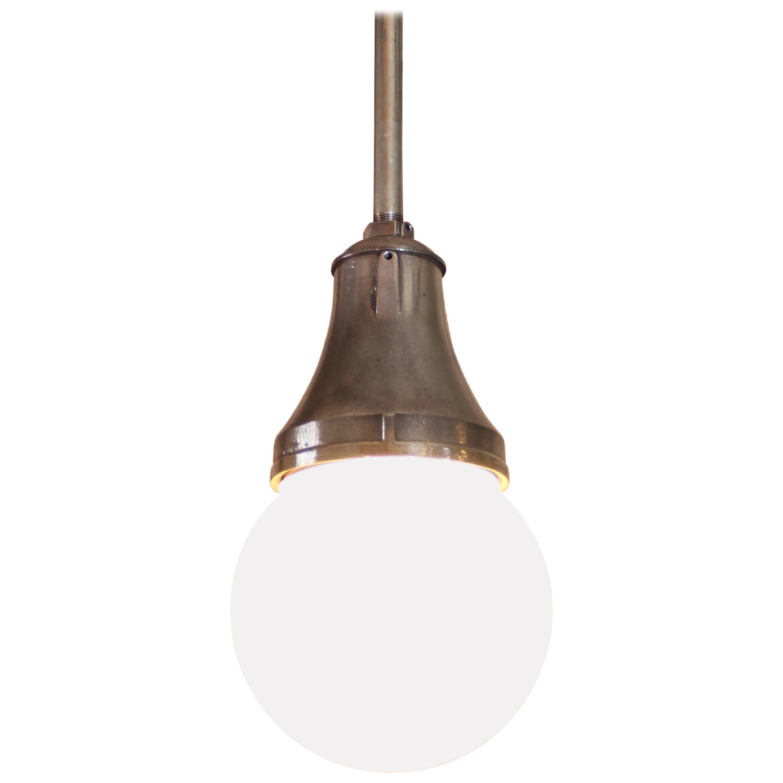 Industrial Pendant Light, Lamp Cast Iron Glass Globe Ceiling Hanging