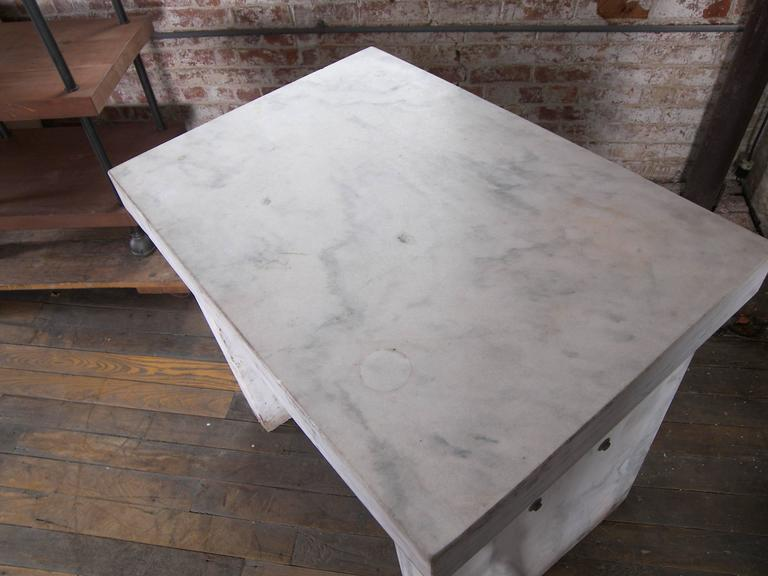 Mid Century Modern Marble Slab Table, Desk   Vintage Industrial Medical  Work Laboratory Console