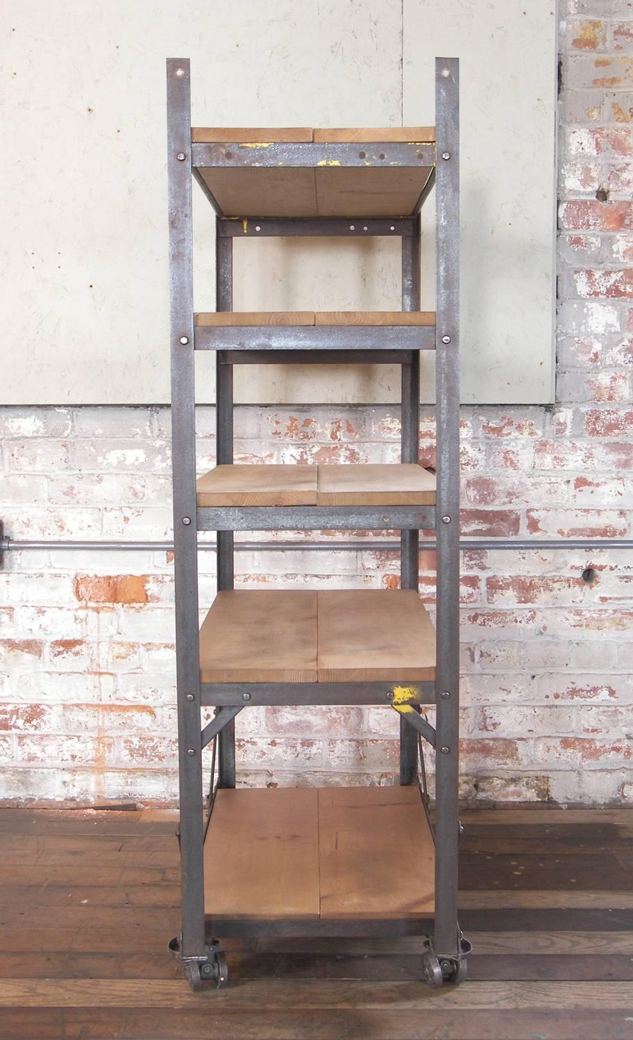 Industrial Five Tier Wood And Metal Shelving Cart
