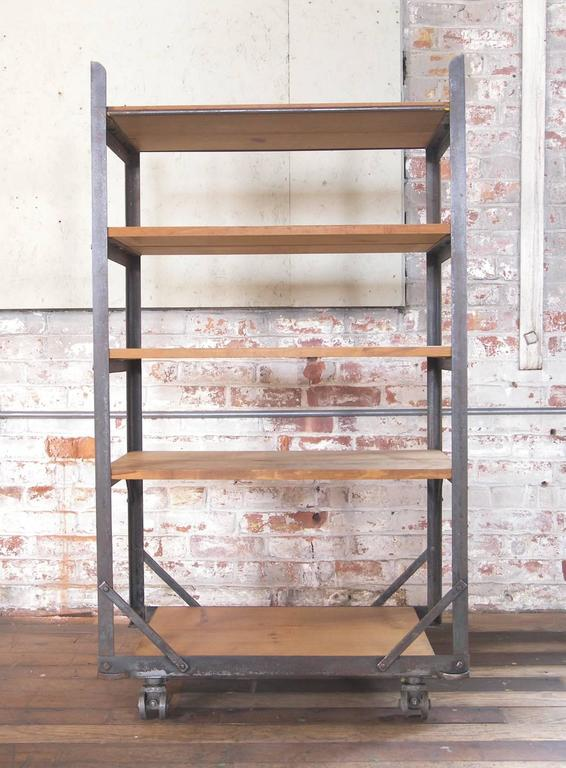North American Five Tier Wood And Metal Rolling Bar Shelving Cart Storage Unit