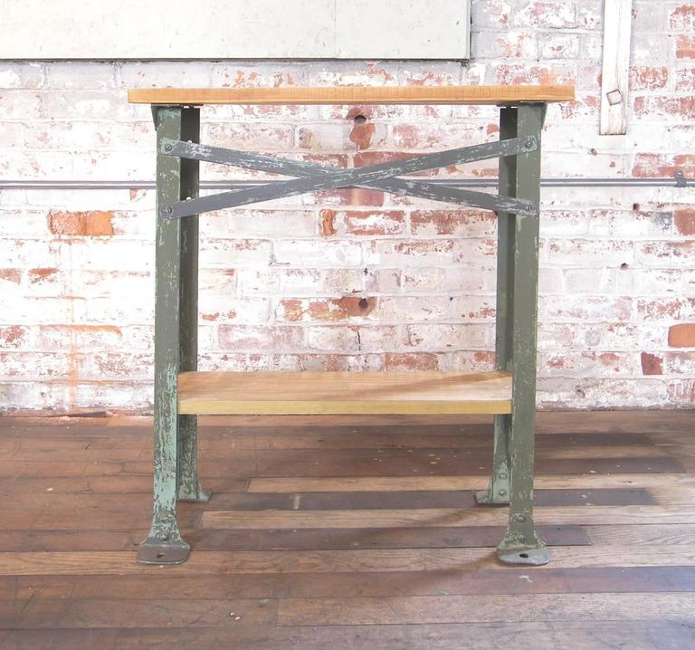 North American Vintage Industrial Two Tier Wood And Metal Side Table   Shelf    Stand