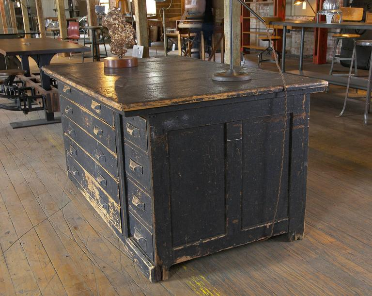 Vintage Industrial Antique Wooden Printers Cabinet With