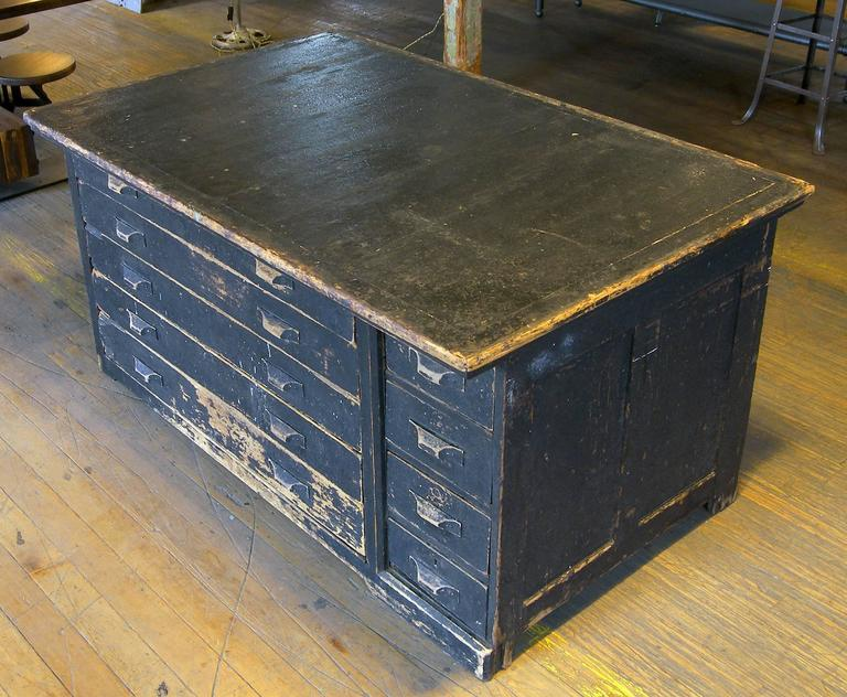 North American Vintage Antique Wooden Printers Cabinet With Storage Drawers For