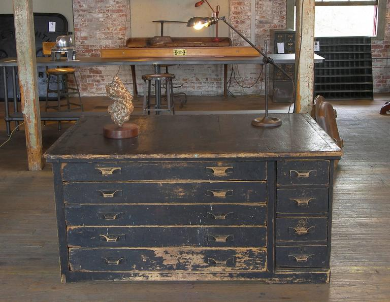 Vintage Industrial Antique Wooden Printers Cabinet with Storage ...
