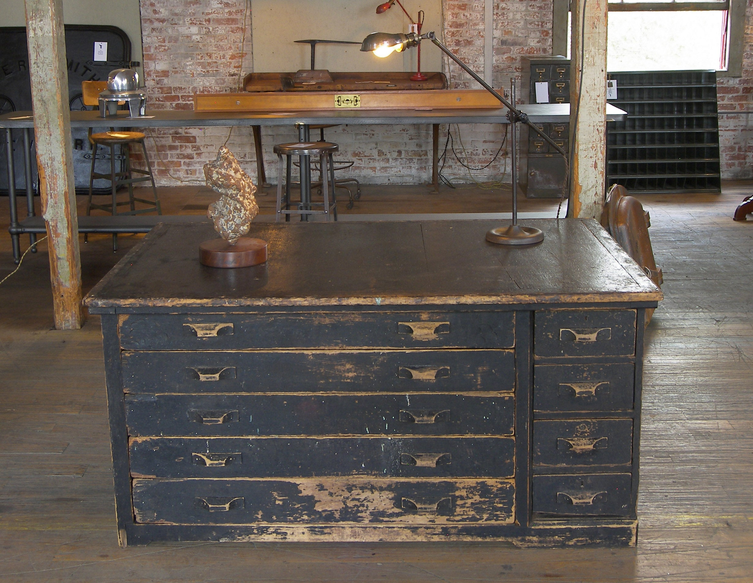 Vintage Industrial Antique Wooden Printers Cabinet with Storage Drawers at  1stdibs