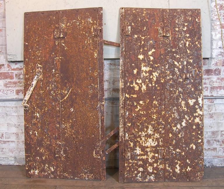 Pair of Antique Industrial Neoclassical Greek Key Cast Iron Doors Window Shutter 7