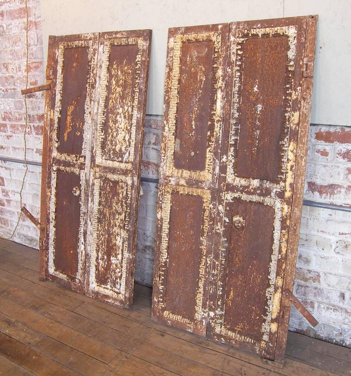 Pair of Antique Industrial Neoclassical Greek Key Cast Iron Doors Window Shutter 9