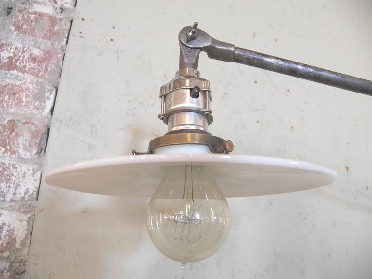 North American Industrial Milk Glass Floor Lamp For Sale