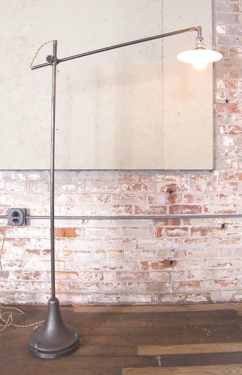 20th Century Industrial Milk Glass Floor Lamp For Sale