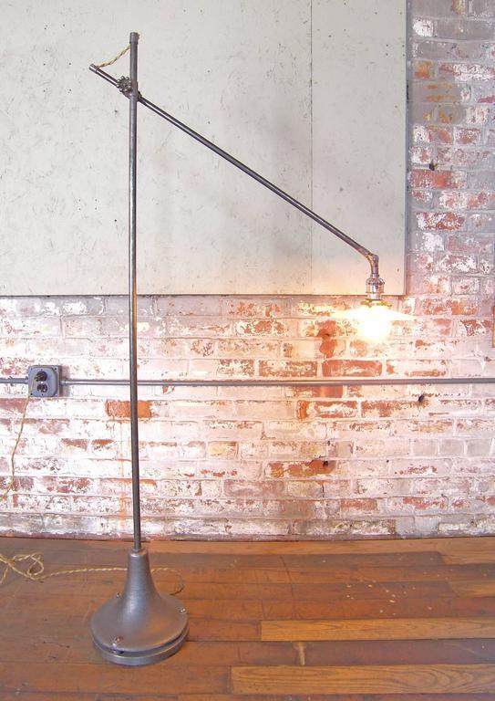 Metal Industrial Milk Glass Floor Lamp For Sale
